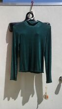 Ladies' M Green Slinky Western show shirt w/ crystals by BANJO US made