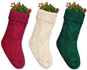 "Set of 3 18"" Unique Burgundy Ivory White Knit Green Christmas Stocking Xmas Gift"