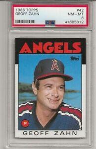 1986 TOPPS #42 GEOFF ZAHN, PSA 8 NM-MT, CALIFORNIA ANGELS, L@@K !