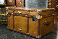 Tan Leather Coffee Table Chest Trunk with Antique leather Trim Rj.Artis