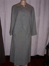 1950s 3 pc Wool Suit Skirt Jacket Blouse Grey Size Small/Medium Original