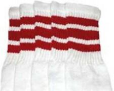 """22"""" KNEE HIGH WHITE tube socks with RED stripes style 1 (22-7)"""