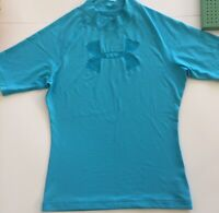 Under Armour Mens Heat Gear Aquatic Shirt Blue Sz. Small EUC