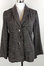 J. Jill XS Romantic Jacket Soft Gray Blazer Floral Baroque Plush Damask