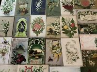 Pretty Lot of 25 Vintage Greetings Postcards w. Lily of the Valley Flowers-a-3