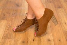 70s stye vintage suede leather lace up peeptoe heels boho hippy festival weat 6