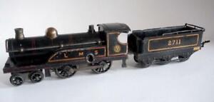 HORNBY O GAUGE (NO 2) 4-4-0  LMS BLACK (LOCOMOTIVE AND TENDER) UNBOXED