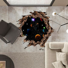 3D View Outer Space World Universe Galaxy Planet Wall Stickers Decor Removable