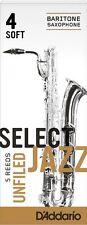 1 Box of 5 D'Addario/Rico Select Jazz Reeds Unfiled Baritone/Bari Sax. 4-Soft/4S