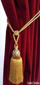 Gold Decorative Window Curtain Drapery Wood/Tassel Rope/Cord Tie Back Holdback
