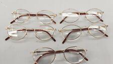 5 pair lot Reading Glasses low vision. gold metal frame new Near vison bulk