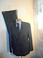 Mens JONES NEW YORK Suit 40S 33x28 Black Pinstripe Double Breasted SHARP!!  EUC