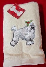 Poodle Embroidered Christmas Hand Towels Set of 2