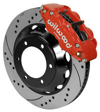 """WILWOOD DISC BRAKE KIT,FRONT,05-17 TOYOTA TACOMA,14"""" DRILLED ROTORS,RED CALIPERS"""