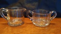 Clear Glass Sugar Dish Milk Creamer Set Vintage