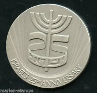 ISRAEL 25th ANNIVERSARY 44mm SILVER OFFICIAL MEDAL WEIGHS 46.7  GRAMS