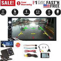 "Bluetooth Car Stereo Radio 2 DIN 7"" HD MP5 FM Player Touch Screen + Rear Camera"