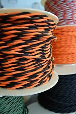 Black and Orange Cloth Covered Electrical Wire 25 ft  Bengals colors -