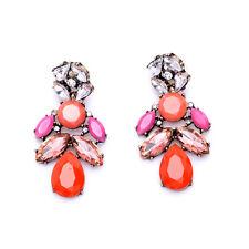 Earrings CLIP Gold Coral Pink Orange Drop Chandelier Crystal Vintage Pendant A8