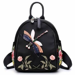 Women Oxford Shoulder Bag Handbag Floral Dragonfly Embroidered Rucksack Backpack