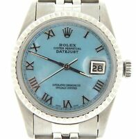Rolex Datejust Stainless Steel Watch Blue MOP Roman Dial Jubilee Bracelet 16030
