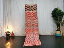 Vintage Moroccan Handmade Runner Rug 2'x7'5 Berber Checkered Faded Red Wool Rug