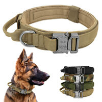 Nylon Tactical Dog Collar With Handle Military POLICE Training Adjustable M/L/XL