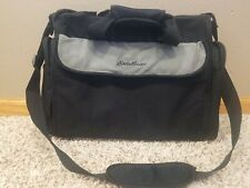 Large Eddie Bauer Diaper Travel Bag Black Gray Canvas With Changing Pad