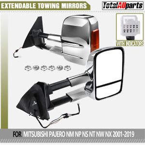ELectric Chrome Extendable Towing Mirrors for Mitsubishi Pajero NP NS NT NW NX