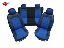 For Skoda Eco Leather Elements Fabric Blue & Black Seat Covers Stitching Padded