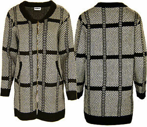 New Womens Knitted Cardigan Dogtooth Houndstooth JUMPER JACKET R56