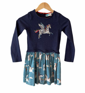 rainbow dress NEW age 2-12 years Mini Boden applique navy blue horse