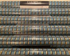 11yd COLE & SON Mosaic Blue/Gold Metallic Art Deco Wallpaper 105/3016 $200Retail