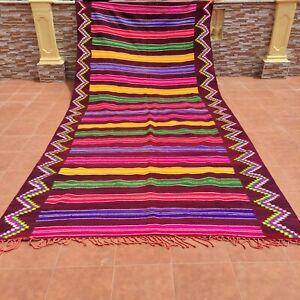 Authentic Vintage Handmade Berber Striped Moroccan Orange Rug Tribal Wool Carpet