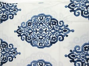 Pottery Barn Riviera Blue Jacquard Medallion Pillow Sham King Size Filigree NWT