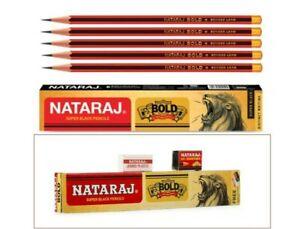50 Nataraj BOLD super black pencil | free eraser & sharpener |FOR Dark Writing
