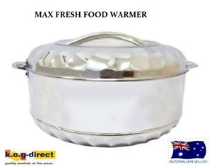 MAX FRESH STAINLESS STEEL FOOD WARMER INSULATED CASSEROLE HOT POT 3.5 TO 15 LTR