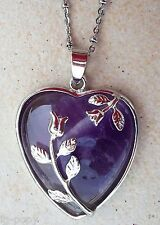 NECKLACE PURPLE AMETHYST LOVE CRYSTAL HEART PENDANT HEALING HEART CHAKRA NEW HER