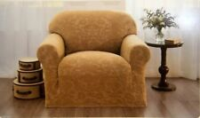 MADISON DAMASK SLIP COVER FURNITURE PROTECTOR DOG PET KID CHAIR BEIGE/GOLD