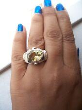 Chunky, Modern Design 925 Solid Sterling Silver Lemon Quartz Ring