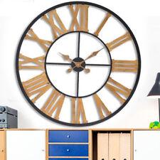 Orologio da Parete in Legno e Metallo Nero Design Vintage Retro' Diametro 80cm