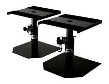 Desktop Studio Monitor Stands Speaker HiFi Adjustable Height Pair Black Steel 2x