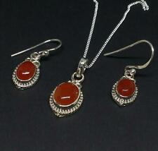 925 Silver Ethnic Indian Red Carnelian Pendant and Earring Set Jewellery