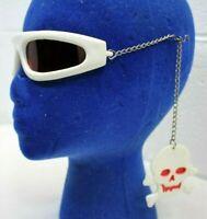 Vintage 1988 Chain Arm Red-Tinted Halloween Costume Sunglasses Glasses Skulls