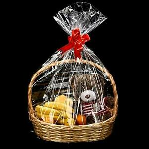 Clear Basket Bags Valentine's Day Easter Cellophane Wrap Plastic Bag for