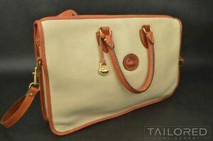 DOONEY & BOURKE Beige Pebble Grain Leather Womens Laptop Shoulder Bag Handbag