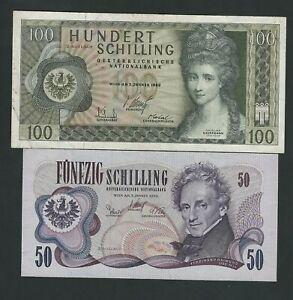 AUSTRIA  100 + 50  SCHILLING  VF