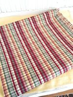 "Vintage 1980-90's Plaid Fabric 91""x51"" Waverly? Yellow Green Burgundy Check"
