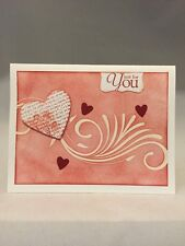 "Card Kit Set Of 4 Stampin Up ""Just For You"" Heat Embossed Red Hearts"