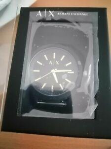 Armani Exchange Men's Black Silicone Strap watch NEW